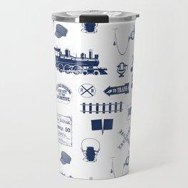 Railroad Symbols // Navy Blue Travel Mug
