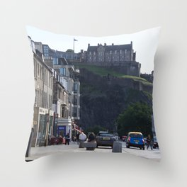 View of Edinburgh Castle from New Town Throw Pillow
