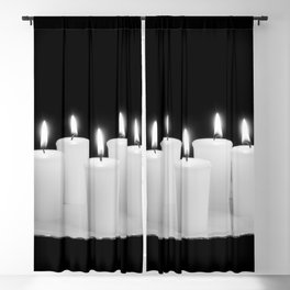 Candles On Plate-bw Blackout Curtain