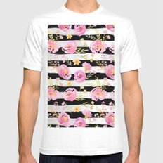 Delicate Poppy Pattern On Stripes MEDIUM White Mens Fitted Tee