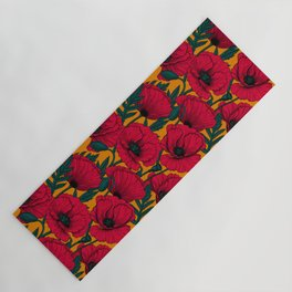 Red poppy garden Yoga Mat