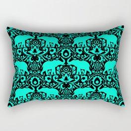 Elephant Damask Mint and Black Rectangular Pillow