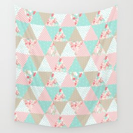 Quilt ender neutral modern quilting pattern triangles handmade gift for new baby Wall Tapestry