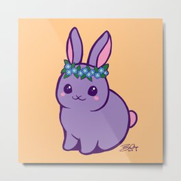 Baby Bunny has Forget Me Nots Metal Print