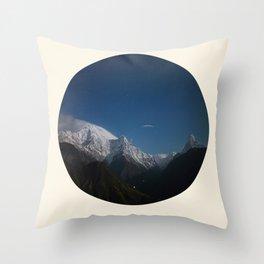 Snow Mountains Against A Blue Sky Circle Photo Throw Pillow