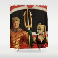 aquaman Shower Curtains featuring Aquaman Goth(ic) by Beastie Toyz