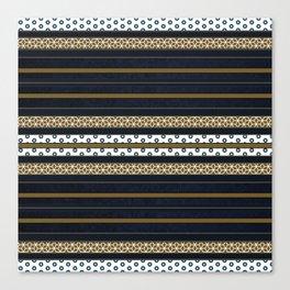 Navy Blue Gold Multi Pattern Stripe Print Canvas Print