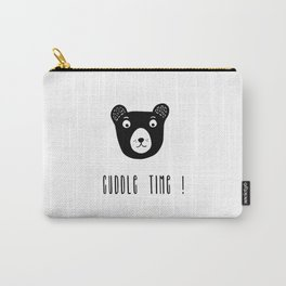 Cuddle time bear black and white illustration Carry-All Pouch