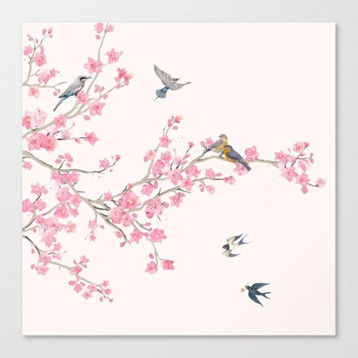 Birds and cherry blossoms Leinwanddruck
