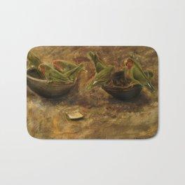 Lovebirds Oil Painting Bath Mat