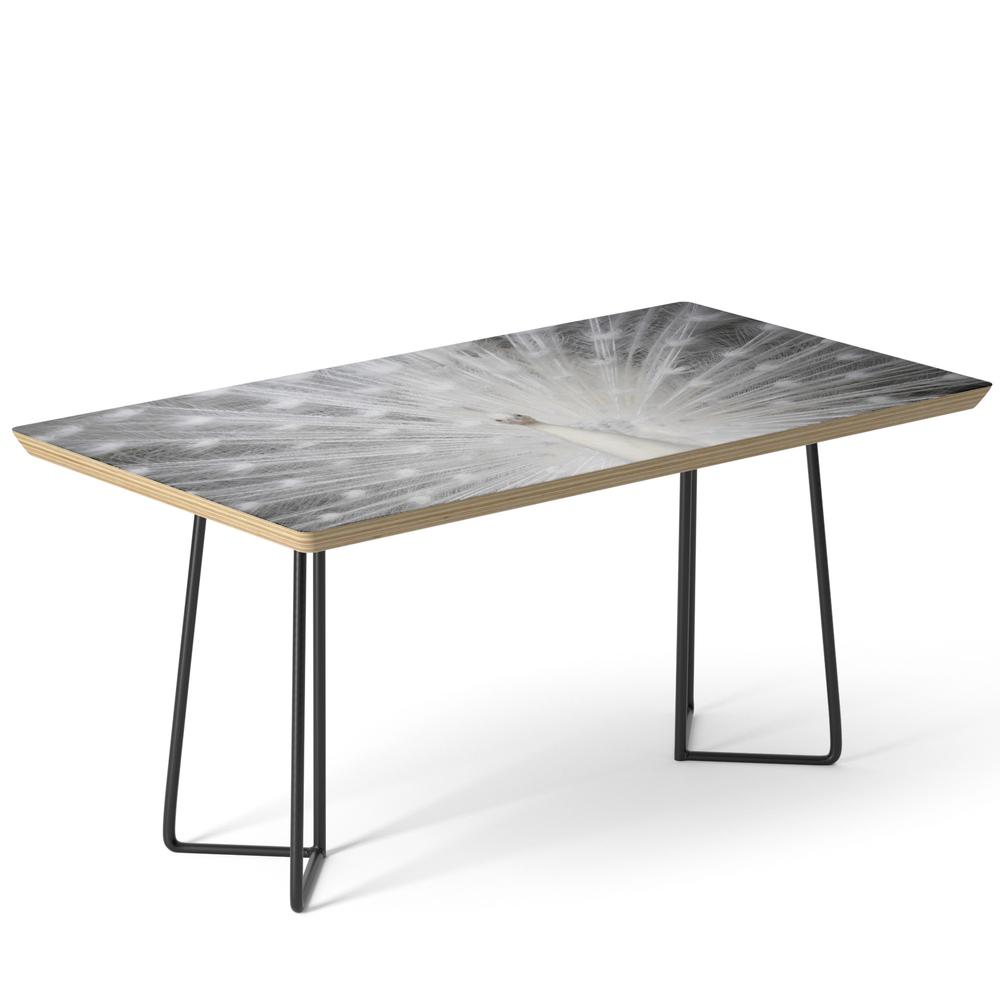 White Peacock Folding Fan Coffee Table by inesleonardo