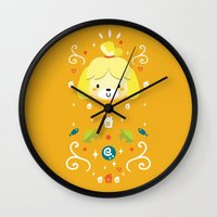 animal crossing Wall Clocks featuring Animal Crossing: Isabelle by Anth Rodi
