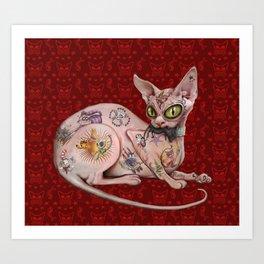 Ratty the Tattooed Sphynx Art Print