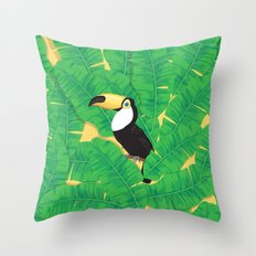 Toucan and banana leaves Throw Pillow