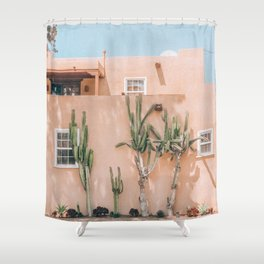Pink House With Cactus Shower Curtain