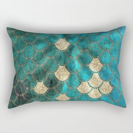 Multicolor Aqua And Gold Mermaid Scales -  Beautiful Abstract Pattern Rectangular Pillow