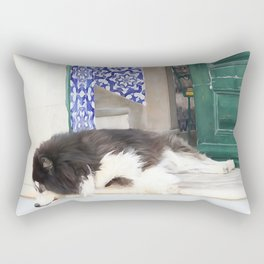 Wall art dog sleeping, street art, Portugal street, I'm lazy today......street dog and azulejos Rectangular Pillow