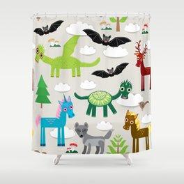 magic pattern with funny dragon bats unicorn horse deer bird wolf. illustration Shower Curtain