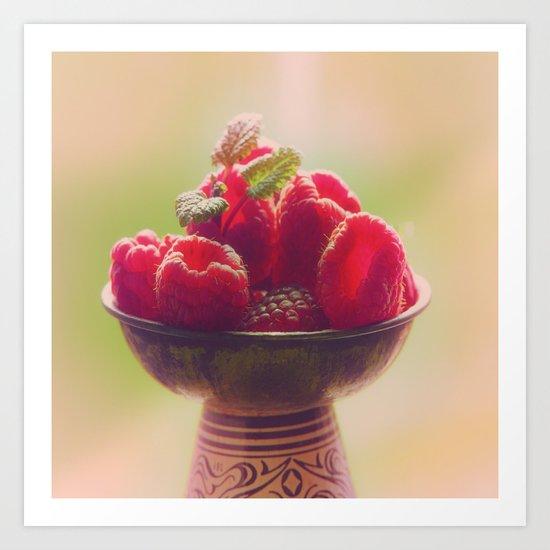 Raspberries fruit enjoyment Art Print