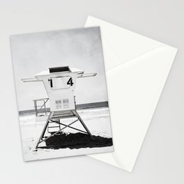 Black and White Beach Photography, Grey Lifeguard Stand, Gray Coastal Nautical Art Stationery Cards
