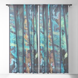 Undaunted A - Abstract in Black and Blue Sheer Curtain