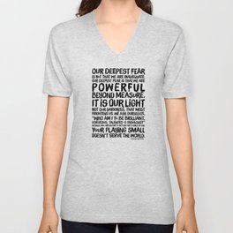 Inspirational Print. Powerful Beyond Measure. Marianne Williamson, Nelson Mandela quote. Unisex V-Neck
