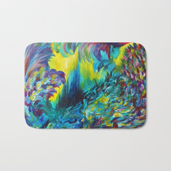 FLIGHT ON TAP - Whimsical Colorful Feathers Fountain Peacock Abstract Acrylic Painting Purple Teal Bath Mat
