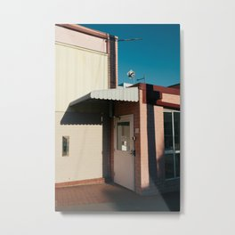 PINK AND BROWN CONCRETE BUILDING WITH WHITE AWNING UNDER BLUE SKY Metal Print