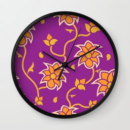 Bright floral indian style seamless pattern Wall Clock