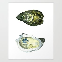 Watercolor Atlantic Oysters #1 by Artume Art Print