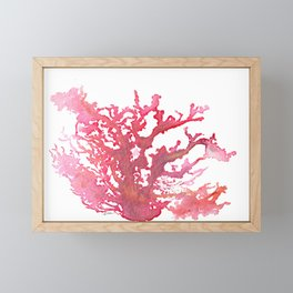 Aloha Pink Coral Watercolor Art Framed Mini Art Print