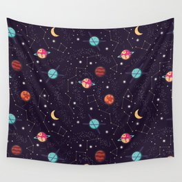 Universe with planets and stars seamless pattern, cosmos starry night sky 004 Wall Tapestry