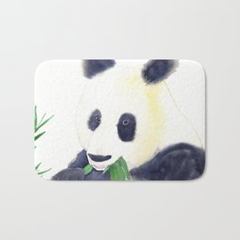 Giant Panda eating Bamboo Watercolor Painting Bath Mat
