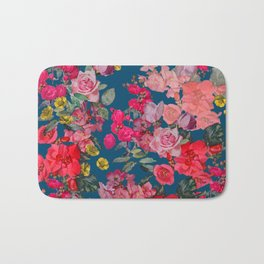 Watercolor Vintage Floral Print on Cerulean Bath Mat