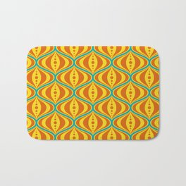 Retro Psychedelic Saucer Pattern in Orange, Yellow, Turquoise Bath Mat