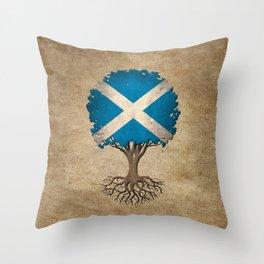 Vintage Tree of Life with Flag of Scotland Throw Pillow