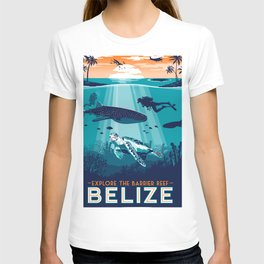 Belize Travel poster vintage tropical reef T-shirt