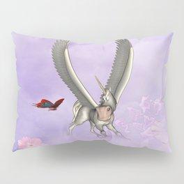 Cute little pegasus with butterflies Pillow Sham