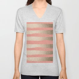 Painted Stripes Tahitian Gold on Coral Pink Unisex V-Neck