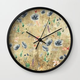 Fishes & Garden #Gold-plated Wall Clock