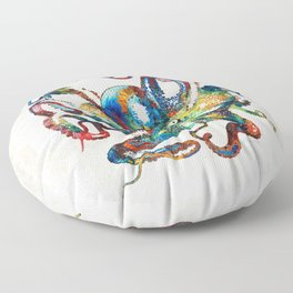 Colorful Octopus Art by Sharon Cummings Floor Pillow