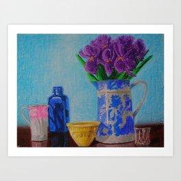 Iris and Blue Willow Pitcher Art Print