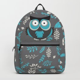 BLUE OWL AND LEAVES Backpack