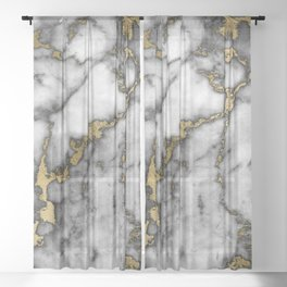 Faux marble Stone Gray Tones Gold Accent Sheer Curtain