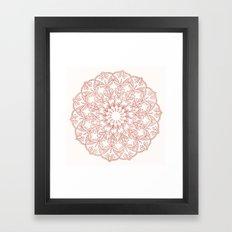 Rose Gold Sparkle Mandala Framed Art Print