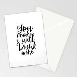 kitchen wall art,you cook i will drink wine,but first wine,inspirational quote,alcohol sign,funny Stationery Cards