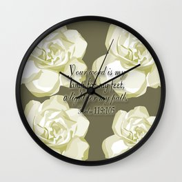 Scripture Gray,White Rose Wall Clock