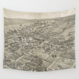 Vintage Pictorial Map of Monticello FL (1885) Wall Tapestry