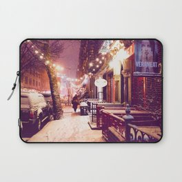 Winter Night with Snow in the East Village New York City Laptop Sleeve