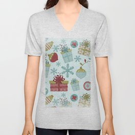 Merry Christmas-Festive gift and Christmas Bowls X-Mas Pattern Unisex V-Neck